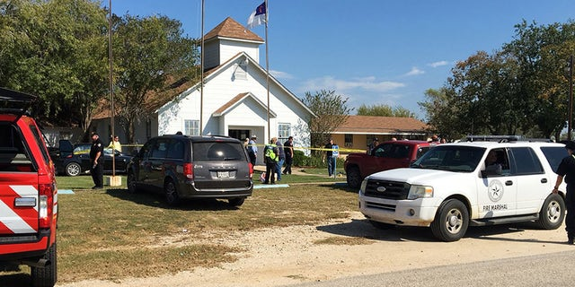 Emergency personnel respond to a fatal shooting at a Baptist church in Sutherland Springs, Texas, Sunday, Nov. 5, 2017