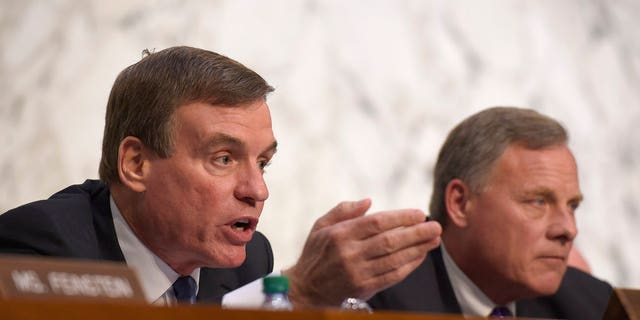 Sen. Mark Warner, left, the top Democrat on the Senate Intelligence Committee who has been leading a congressional investigation into President Trump's alleged ties to Russia, had extensive contact last year with a lobbyist for a Russian oligarch who was offering Warner access to former British spy and dossier author Christopher Steele, according to text messages obtained exclusively by Fox News.