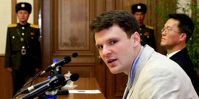 Otto Warmbier speaking as he was presented to reporters in Pyongyang, North Korea, in February 2016.