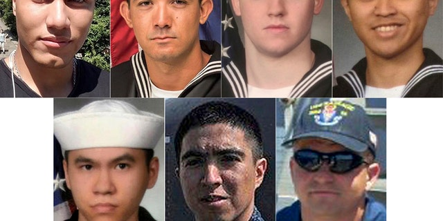 From top left to right, Personnel Specialist 1st Class Xavier Alec Martin, 24, from Halethorpe, Md.; Yeoman 3rd Class Shingo Alexander Douglass, 25, from San Diego, Calif.; Gunner's Mate Seaman Dakota Kyle Rigsby, 19, from Palmyra, Va.; and Fire Controlman 2nd Class Carlos Victor Ganzon Sibayan, 23, from Chula Vista, Calif. From bottom left to right, Sonar Technician 3rd Class Ngoc T Truong Huynh, 25, from Oakville, Conn.; Gunner's Mate 2nd Class Noe Hernandez, 26, from Weslaco, Texas; and Fire Controlman 1st Class Gary Leo Rehm Jr., 37, from Elyria, Ohio.