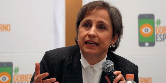 Mexican journalist Carmen Aristegui at a news conference on Monday.