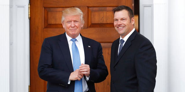 President Trump and Kris Kobach at the president's golf club in New Jersey.