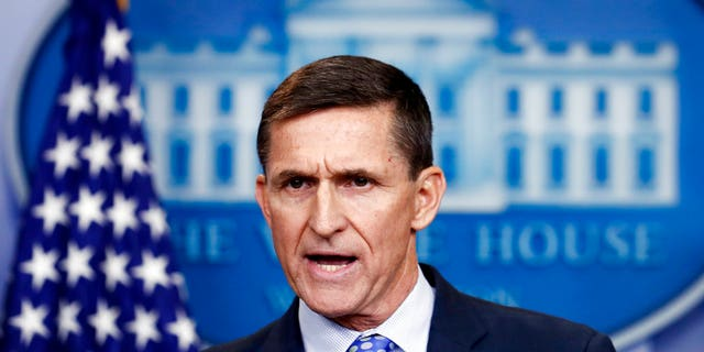 Then-National Security Adviser Michael Flynn speaks during a White House press briefing.
