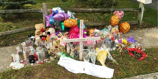 A memorial in Brentwood erected for victims kills by the MS-13 gang.