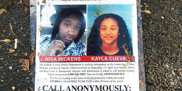 A poster featuring photos of Nisa Mickens and Kayla Cuevas is part of a memorial near the spot where their bodies were found in Brentwood, N.Y. The two girls were beaten and hacked to death by a carload of gang members who spotted them walking down the street.