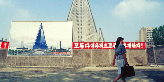 The Ryugyong Hotel in August 1990.