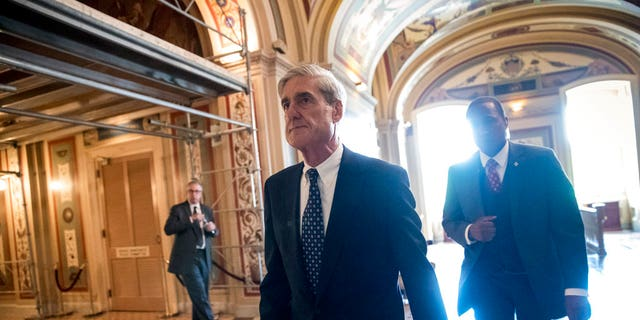 Special Counsel Robert Mueller departs after a closed-door meeting with members of the Senate Judiciary Committee about Russian meddling in the election.