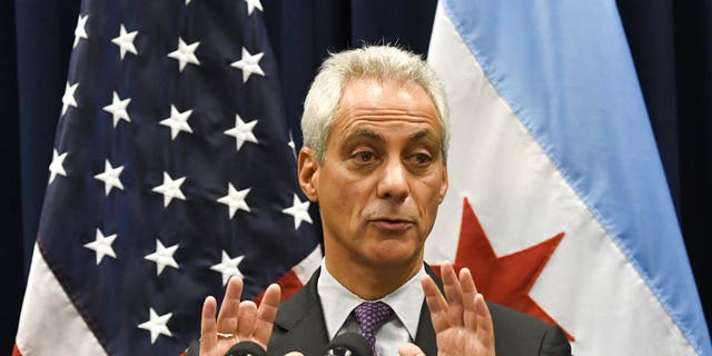 """FILE - In this Jan. 25, 2017 photo, Chicago Mayor Rahm Emanuel speaks during a press conference where sanctuary cities, which don't arrest or detain immigrants living in the U.S. illegally, and Chicago violence, two issues raised by President Donald Trump, were discussed in Chicago. Emanuel on Friday, Aug. 4 said the city will sue the federal government in defense of its status as a so-called sanctuary city and against threats to withhold U.S. grant funds. Emanuel told """"Connected to Chicago"""" on WLS-AM the city will be in federal court Monday, Aug. Aug 7 arguing grants can't be withheld from cities the administration says aren't cooperating enough with U.S. Immigration and Customs Enforcement officials. (AP Photo/Matt Marton, File)"""