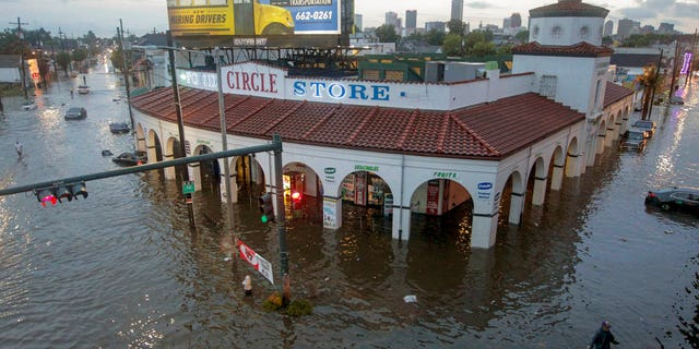 Circle Food Store engulfed in floodwaters in New Orleans after a storm on Aug. 5.