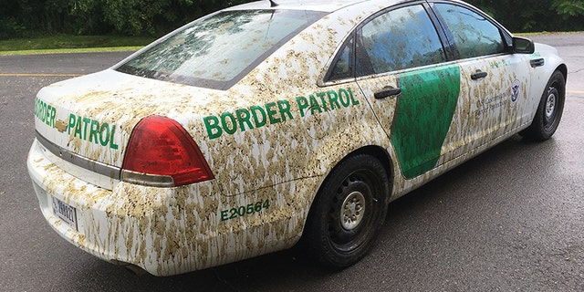 A U.S. Border Patrol car was sprayed with manure in Vermont.