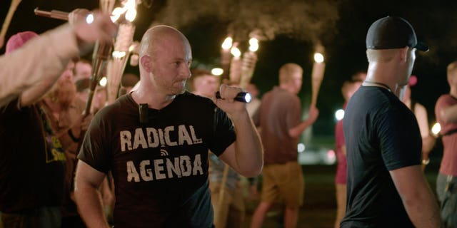 In this photo from Aug. 11, 2017, Christopher Cantwell attends a white nationalist rally in Virginia.
