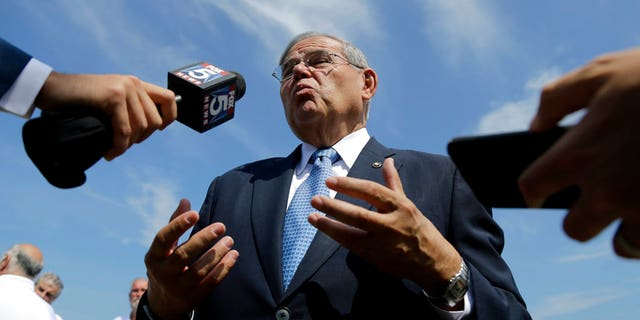 U.S. Sen. Bob Menendez takes questions after a news conference Aug. 17, 2017, in Union Beach, N.J.
