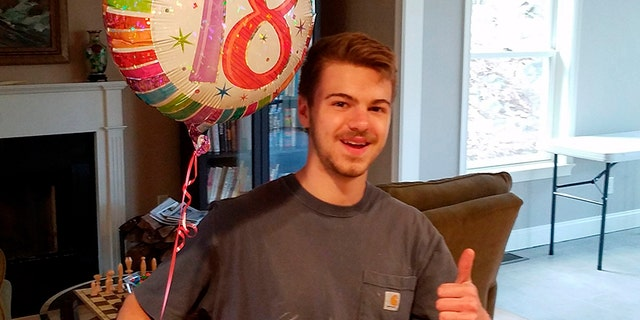 This April 2017 photo provided by his family shows Andrew Oneschuk during his 18th birthday party,