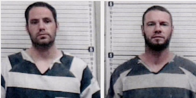 Andrew Foy, left, and Darren Walp are on the run from police after overpowering two transport officers and stealing their van in northwestern Oklahoma.