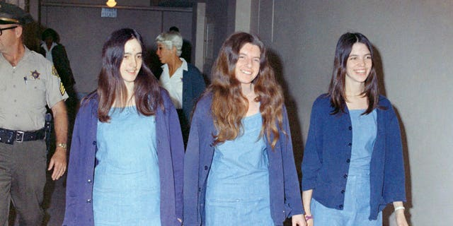 Aug. 20, 1970: Susan Atkins, left, Patricia Krenwinkel, center, and Leslie Van Houten, right, walk to court to appear for their roles in 1969 Charles Manson cult killings of seven people.