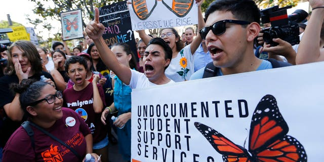 Undocumented students hold a rally in support of DACA, the Obama-era program that in part protects certain young undocumented immigrants from deportation.