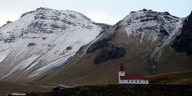 In this Oct. 26, 2016 file photo, the church of Vik, Iceland, near the Volcano Katla.