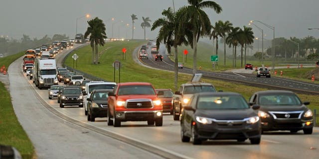 Traffic heading north along the Florida Turnpike near Homestead, Fla., Sept. 6, 2017.