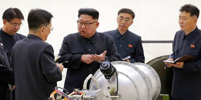 North Korean leader Kim Jong Un at an undisclosed location after its sixth nuclear test in early September.