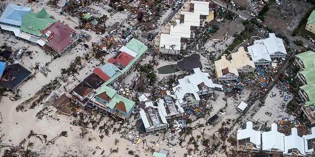 Storm damage in the aftermath of Hurricane Irma on St. Maarten.