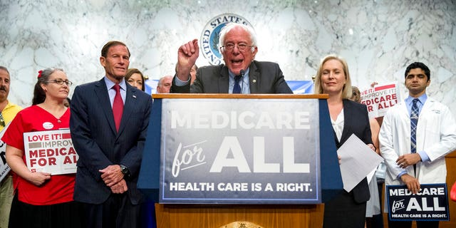 Sen. Bernie Sanders, D-Vt., joined by Democratic senators and supporters, unveils his Medicare for All legislation to reform health care.