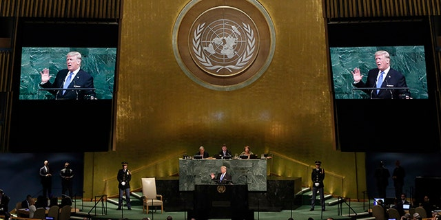 President Donald Trump addresses the 72nd session of the United Nations General Assembly, at U.N. headquarters, Tuesday, Sept. 19, 2017.