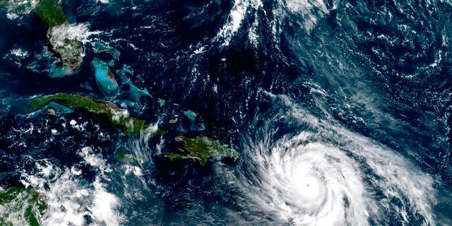 Satellite image taken Tuesday, Sept. 19, 2017, shows Category 5 Hurricane Maria southeast of Puerto Rico.