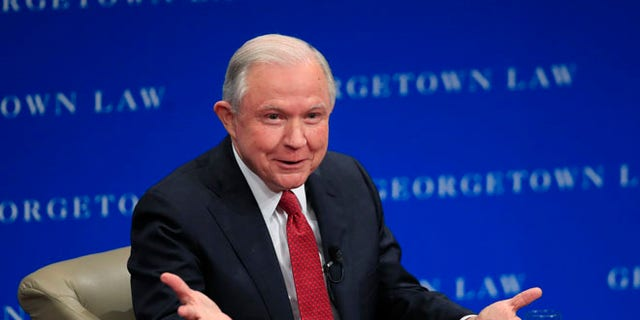 Attorney General Jeff Sessions speaks about free speech at the Georgetown University Law Center in Washington, Tuesday, Sept. 26, 2017.  Sessions says the U.S. Justice Department will intervene on behalf of people who sue colleges claiming their free speech rights were violated.(AP Photo/Manuel Balce Ceneta)
