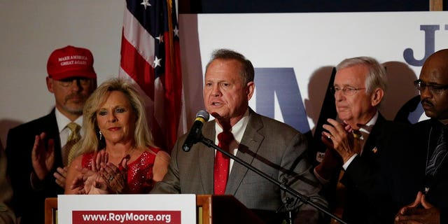 Judge Roy Moore speaks to supporters after beating Sen. Luther Strange in the Alabama Senate special election.