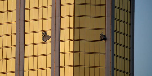 Broken windows mark gunman Stephen Paddock's hotel suite in Las Vegas.