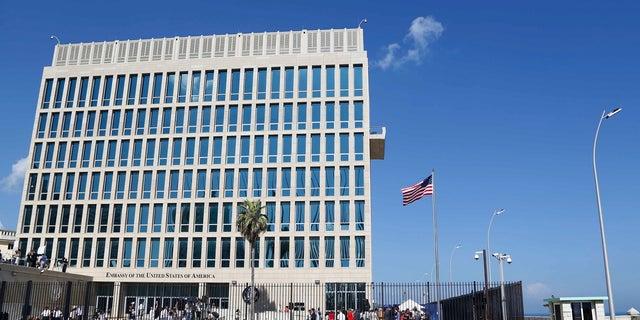 An American flag flies at the U.S. Embassy in Havana, Cuba, Aug. 14, 2015.