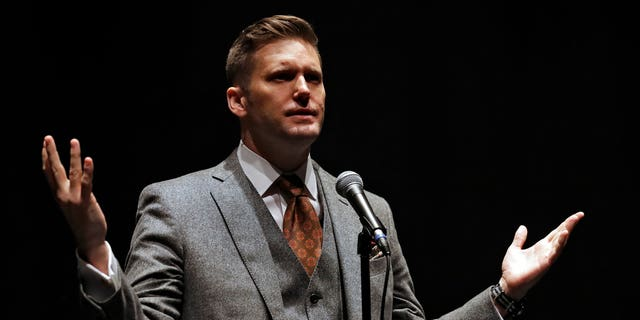 White Nationalist Richard Spencer Thursday, Oct. 19, 2017, at the University of Florida in Gainesville, Fla.