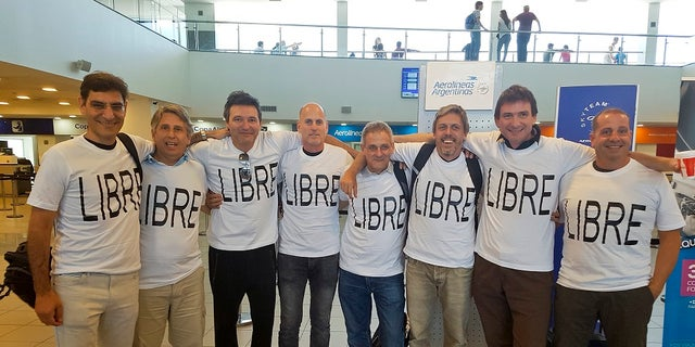 A group of friends from Argentina traveled to the U.S. to celebrate the anniversary of their graduation. From left to right: Hernán Ferruchi, Alejandro Pagnucco, Ariel Erlij, Ivan Brajckovic, Juan Pablo Trevisan, Hernán Mendoza, Diego Angelini and Ariel Benvenuto. Mendoza, Angelini, Pagnucco, Erlij and Ferruchi were killed in the bike path attack near the World Trade Center.