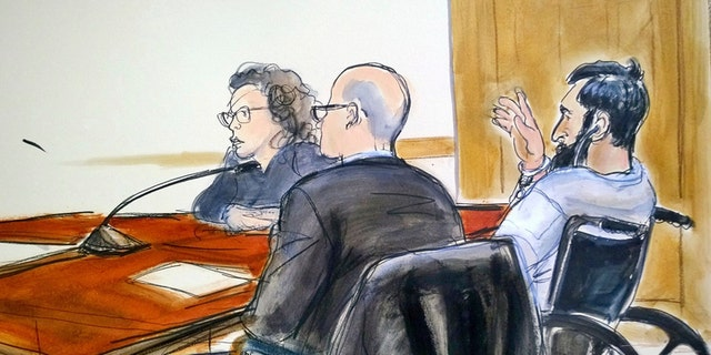 In this courtroom drawing, defendant Sayfullo Saipov, right, addresses the court during his arraignment on federal terrorism charges.