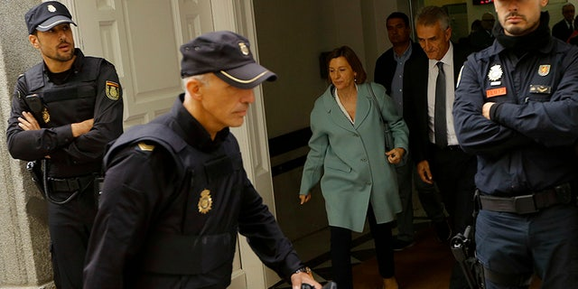 Ex-speaker of the Catalonia parliament Carme Forcadell arrives at the Spain's Supreme Court in Madrid.