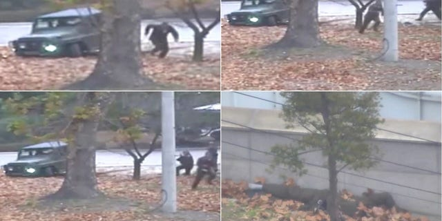 Dramatic video shows the defector's dash to freedom to South Korea at the DMZ.