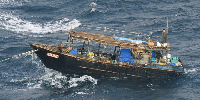 A wooden boat was seen off Matsumae town on Hokkaido Island on Wednesday.