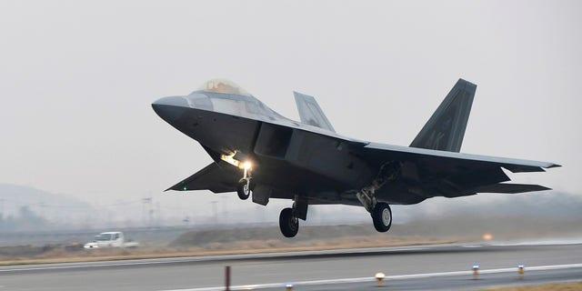 A U.S. Air Force F-22 Raptor takes off from a South Korean air base in Gwangju, South Korea.