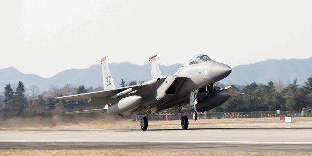 A U.S. Air Force F-15, takes off at Gwangju Airbase, South Korea, during the exercise VIGILANT ACE 18.