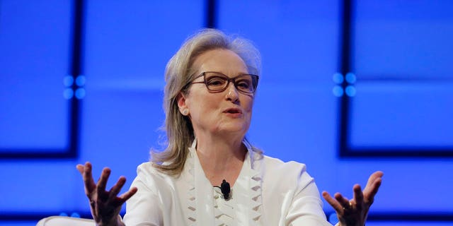 Meryl Streep speaking at a women's conference in Massachusetts
