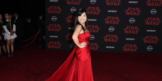 "Kelly Marie Tran arrives on the red carpet for the premiere of ""Star Wars: The Last Jedi,"" Dec. 9, 2017."