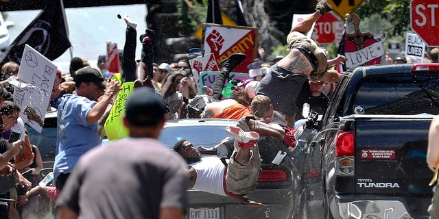 Fields is accused of driving into the crowd demonstrating against a white nationalist protest in Charlottesville, Va.