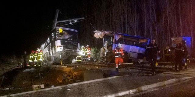 Six students died and several others were injured after a school bus and regional train collided in France.