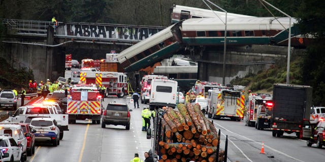 Washington State Trooper Brooke Bova said 12 train cars and two engines jumped the tracks, and thirteen total cars were derailed.