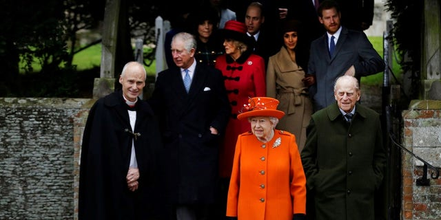 Queen Elizabeth II and members of the royal family attend the Christmas church service.