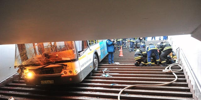 Several people were killed and more than a dozen injured when a bus drove into an underground passageway in Moscow.