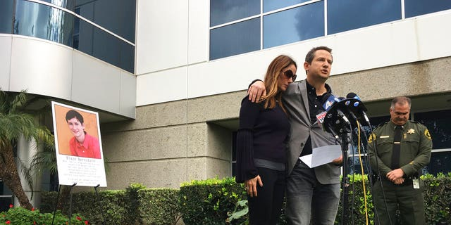 Gideon and Jeanne Bernstein, parents of missing teen Blaze, pictured left, are joined by Orange County Sheriff's Lt. Brad Valentine, right, during a news conference in Lake Forest, California, on Jan. 10.