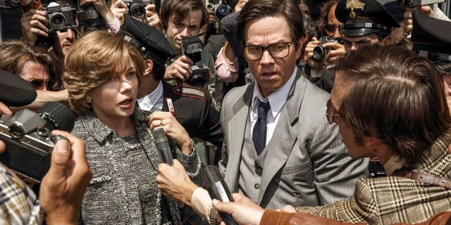 "This image released by Sony Pictures shows Michelle Williams, left, and Mark Wahlberg in TriStar Pictures' ""All The Money in the World."""