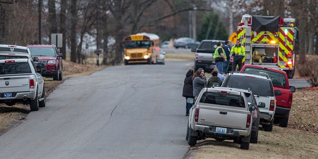 Emergency crews on the scene of the deadly Kentucky high school shooting.
