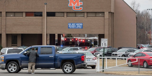 Emergency crews respond to Marshall County High School after a fatal school shooting on Tuesday.
